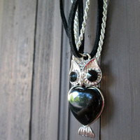 Silver Owl Necklace, Black Rhinestones, Bird Pendant, Animal Jewelry, Woodland Creature, Bohemian Fashion