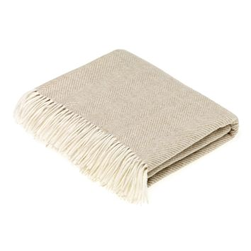 Merino Lambswool Herringbone Beige Throw Blanket