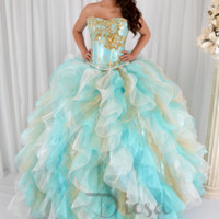 Aqua and Gold Sparkle Quinceanera Dress #10145