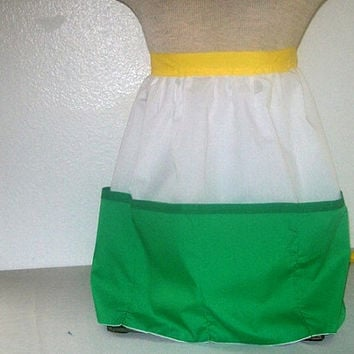 0901 Sunnyslope High School Half Apron /  SS / Cotton Apron / Multi Pocket Kitchen Apron / Green White and Yellow / Size XL