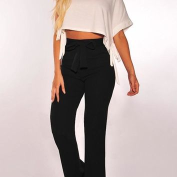 Black Sashes High Waisted Office Worker Bell Bottom Flare Long Pants