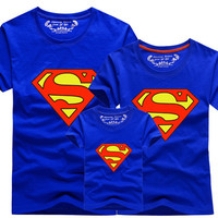 Summer Family Matching Clothes New 2016 Family Look Superman T Shirts Father Mother Kids Cartoon Outfits Family Matching Clothes