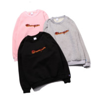 Champion Women Men Embroidery  Fashion Pullover Tops Sweater Hoodie