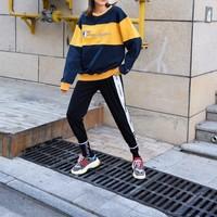 """""""Champion"""" Women Contrast Color Bright All-match Stripe Fashion Letter Logo Embroidery Long Sleeve Sweater Tops"""