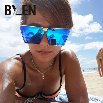 2017 New Sunglasses Women Men Oversized Square Glasses UV400 Gradient Vintage Brand Designer Eyeglasses Frames Rimless Glass