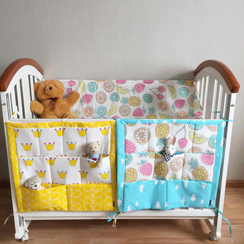 2017 New Baby Cot 60*50cm Nursery Hanging Storage Bag Crib cot Organizer Storage Bag Toy Diaper Pocket for Crib Bedding Set