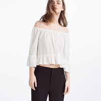 FRILLED SLEEVE JACQUARD TOP