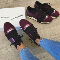 Balenciaga Fashion Race Runners Women Men Comfortable Sneakers Casual Shoes Purple