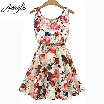 Women Summer Dress 2018 AWAYTR Brand Boho New  Apricot Sleeveless O-Neck Florals Print Pleated Party Clubwear Formal Dress