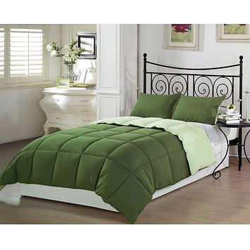 Queen 3-Piece Reversible Down Alternative Comforter Set in Green