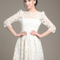 White Floral Lace Sheer Sleeve High-Waisted Mini Dress