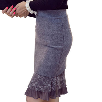Gray Black High Waist Skirt Spring Autumn Winter Slim Pencil Skirt Lace Patchwork Women Skirts Plus Size Womens Clothing S - 5XL