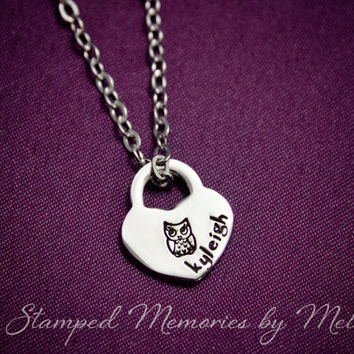 Baby Owl - Hand Stamped Stainless Steel Heart Lock  Necklace Personalized w/ Name - Mom, Sister, Daughter, Aunt, Grandma Godmother Necklace