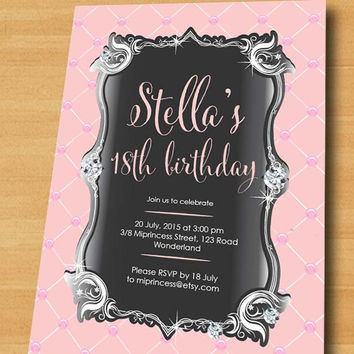 Elegant Birthday Invitation Sweet Pink Glam Design F