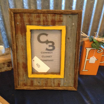 Mustard Picture Frame with Tin
