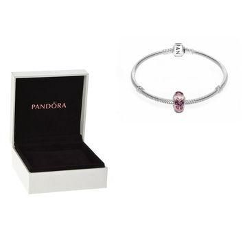 Authentic Pandora S925 Sterling Silver Charm Bracelet & Pink Butterfly Kisses Murano G