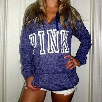 Pink Victoria S Secret Letter Print Zipper V Neck Hoodie Top Sweater Sweatshirt
