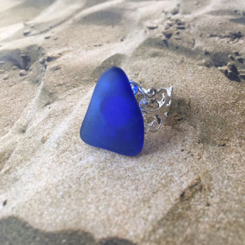 Blue Sea Glass Ring Blue Seaglass Adjustable Ring Blue Sea Glass Statement Ring Blue Sea Glass Adjustable Ring Glass Statement Ring (R52)