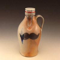Soda Fired Growler with Inlaid mustache Design