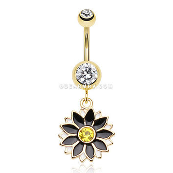 Golden Daisy Blossom Flower Belly Button Ring (Clear/Black)
