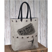 Paris Bicycle Tote Bag. Stonewashed Canvas