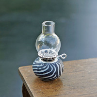 Dollhouse Miniature Zebra Design Glass Hurricane Oil Lamp