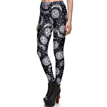 ONETOW New 3869 Sexy Girl Slim Ninth Pants SpellBound ouija witchcraft Sun Printed Stretch Fitness Women Leggings Plus Size