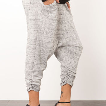 [SOLD OUT] MARLED TERRY PLEATED DROP CROTCH CROP PANT