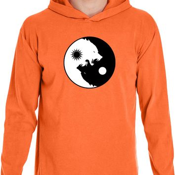 Yoga Clothing For You Yin Yang Wolves Heavyweight Pigment Hoodie Yoga Tee Shirt
