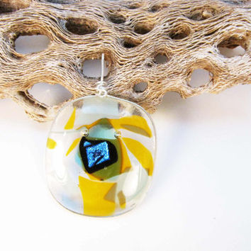 Fused Glass Pendant  Yellow Orange Sage Green Clear  Blue Dichroic Glass Sterling Silver Wire Wrapped