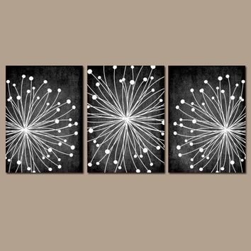 DANDELION Wall Art, CANVAS or Prints Chalkboard Effect Bedroom Pictures, Bathroom Decor, Black White Flower Dandelion Set of 3 Home Decor