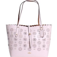 COACH Womens Cut Out Tea Rose Market Tote