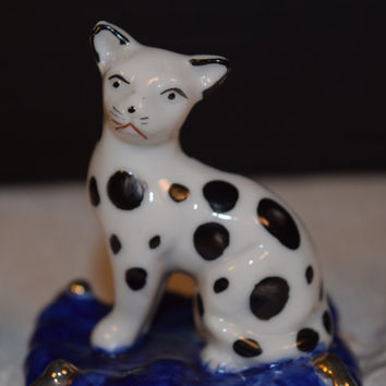 Miniature Cat on Pillow Figurine Vintage Black Spotted Kitty Porcelain Statue Cat Collectible Figurine Cat Lover Gift Shadowbox Decor