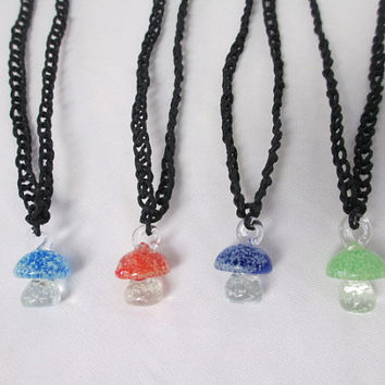 GLOW IN DARK Mushroom Black Hemp Necklace Glass - You Choose Color Shroom Pendant -   Turquoise, Orange, Blue or Green,
