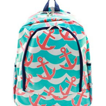 Splash Anchor Backpack FREE Personalziation  Book Bag Overnight School Bag Swim Sports  Birthday Ring Bearer  Boy Girl Back to School