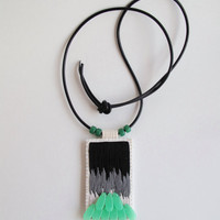 Embroidered pendant necklace abstract black and grays with mint green beads on long thick leather cord Winter trends An Astrid Endeavor