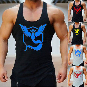 Pokemon Go Team Men vest tank tops Valor Team Mystic Team Instinct Pokeball Men Fitness Gym Workout Vest Tank Tops