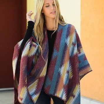 Don't Leave Me Poncho- Burgundy