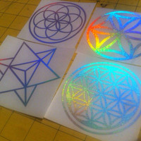 Flower of life die-cut decal sticker 3x3 holograph edition