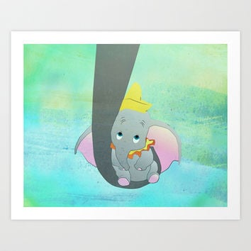 dumbo and his mom Art Print by Studiomarshallarts