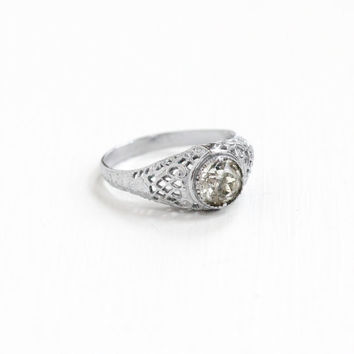 Antique Art Deco Silver Tone Filigree Rhinestone Ring - Vintage Size 6 1/2 Clear Glass Stone Costume Jewelry, Engagement Ring Style