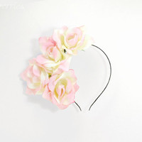 Statement floral hairpiece - Cream and rose floral headband - Statement hairpiece of flowers for women - Romantic wedding hair accessories