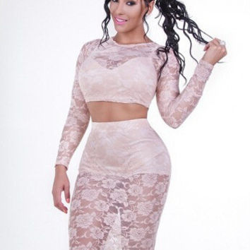 White Floral Lace Long Sleeve Cropped Top Bandage and High Waisted Pencil Skirt Set