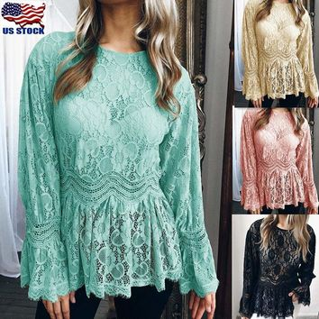 Womens Summer Long Sleeve Lace T Shirt Blouse Ruffle Ladies Loose Crew Neck Tops