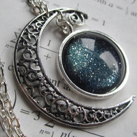 Constellation - Filigree Necklace - Crescent Moon - Galaxy Jewelry - Physics Jewelry - Moon Jewelry - Moon Necklace - Filigree Jewelry