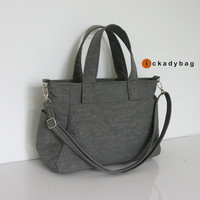 SALE -  Small Gray Handbag / Water-resistant Nylon Bag with Side & Zipper pockets / Everyday bag / Purse / Messenger / Tote -  Mini Nuch