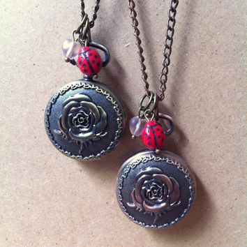Lovebug: rose pocket watch with heart and ladybug beads necklace, spring pocketwatch, Valentine's Day timepiece