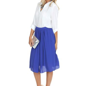 Midi Flow Skirt Cobalt