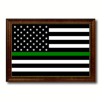 Thin Green Line Support Border Patrol American USA Flag Canvas Print with Brown Picture Frame Home Decor Wall Art Gift Ideas