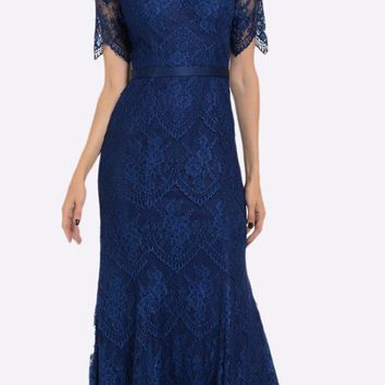 Off Shoulder Lace Fit and Flare Evening Gown Navy Blue